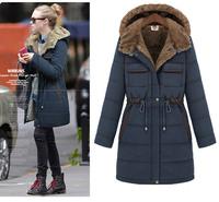 New 2014 Winter Coat Jacket Parka Women Long Hoodies Warm Coats Jackets Ladies Cotton Clothes Faux Fur Lining jaqueta feminina
