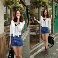 1 pcHot selling ! Girl High Waist Pants Shorts Jeans Vintage Cuffed E4896-blue dark S