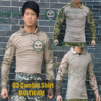 Tactical G3 Combat shirt BDU Military Army airsoft Tshirt +Elbow pads MULTICAM