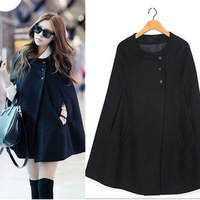 Free Shipping Casual Womens Cape Black Batwing Wool Poncho Jacket Lady Winter Warm Cloak Coat# 5802