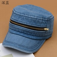 Free shipping new personalized zipper cowboy cap, Korean version of the new spring and summer unisex casual flat cap
