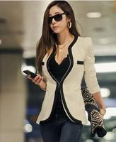 2014 New Brazers Spring Autumn Black & White Deep V-neck Brand Suit Jacket Women's Suits Shoulder Pads Blazer Women Coat Stock