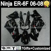 7gifts For KAWASAKI NINJA 650R ER-6F 06-08 06 07 08 ALL Black T560 ER6F ER650 650 ER 6F 2006 2007 2008 Fairing+Gloss black
