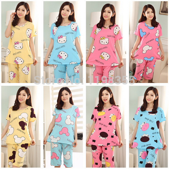 2PCS! 2014 new women's cartoon pajama sets,lady's shirt+shorts pijamas,women's sleepwear free shipping(China (Mainland))