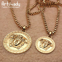 Artilady 2014 Top Quality 18K Gold Coin Pendant Necklace Retro Long Chain Necklace For Unisex
