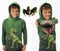 2014Free Shipping!Boys/Girls Spring/Autumn 3D Cartton Dinosaur crocodile Hooded sweatshirts/Hoodies Kids/Children T Shirts 3-10