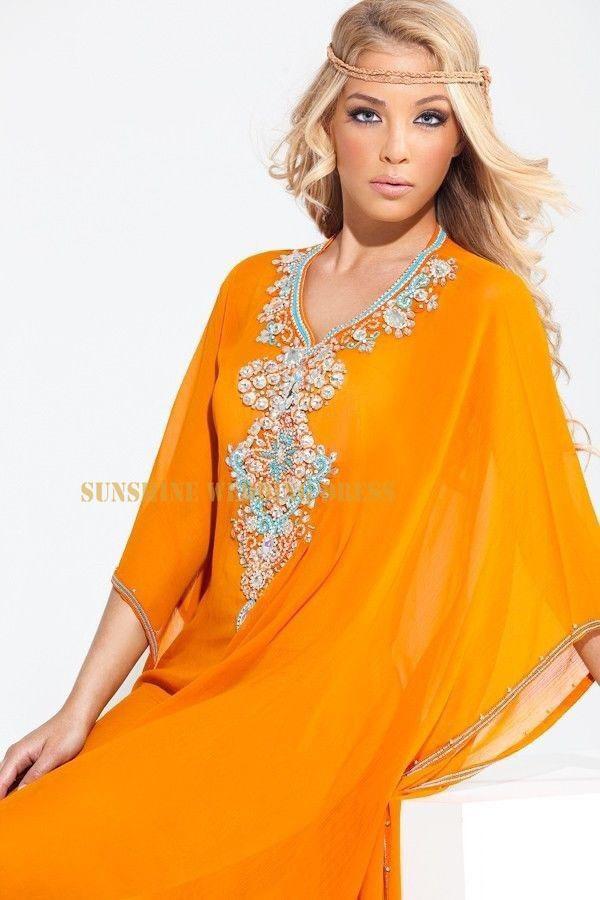 New Design V Neck Custom made frisada com pedras laranja três trimestre Chiffon muçulmano Abaya em Dubai 2014(China (Mainland))