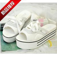 Paltform high-heeled shoes fashion lacing casual slippers female all-match women's platform shoes