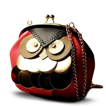 Мода 2014 Новый мультфильм птица кросс - тело плеча сумку сова женщин кожаные сумки конфеты цвет цепь сумки посыльного S479