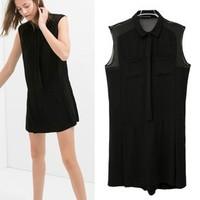 2014 New arrivals Ladies' elegant sexy transparent  jumpsuit sleeveless pockets black pants casual slim brand designer Romper