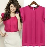 2014 Elegant Summer women Blouses Short-sleeve O-neck Ruffled Pleated Chiffon Shirts women's Tops lady tees S-XL Free shipping