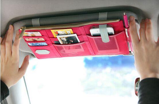 Multifunctional Sun Visor Storage Bag Car Notes Pouch CD Receive Bag DVD Disk Card Visor Case Holder Clipper Bag(China (Mainland))