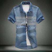 2014 new casual mens dinim shirt short sleeve slim plus size men's dinim shirt