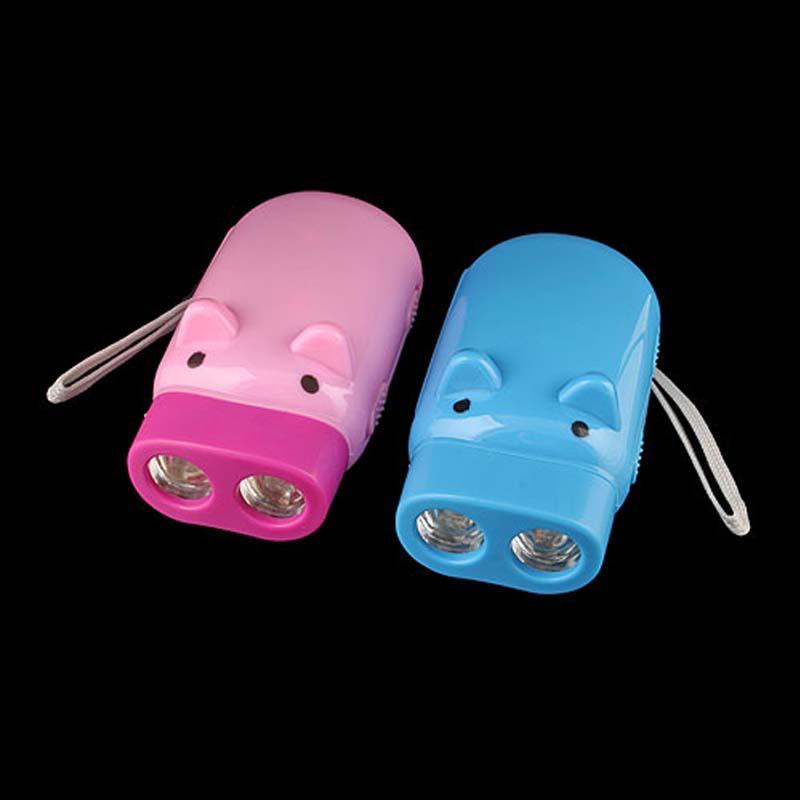 Wind Up Pig Hand Press LED Torch Flashlight No Battery(China (Mainland))