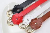Free Shipping Simple korean fashion small flowers decorated metal buckle female fine belt Wild women belts