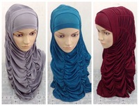 ML101 wrinkle two peices hijab muslim hijab free shipping,fast delivery,assorted colors