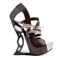 2014 new women black sculpture dragon wedge sandals peep toe platform cutouts high heel night club cross strap shoes 160MM heel