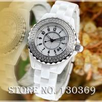 2014 women rhinestone watches ladies luxury brand white ceramic sapphire glass high quality fashion clock ladies quartz watch