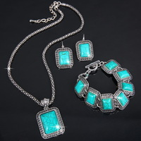 2014 New Arrival 3pcs Vintage Antique Silver P Square Rectangular Turquoise Earrings Bracelet Necklace Women Jewelry Sets