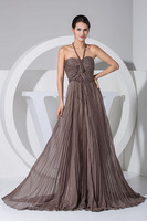 2014 New Arrival Court Train Evening Dress Empire Halter Chiffon Dress Floor-Length Long Gown