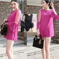 2014 summer fashion maternity chiffon dress patchwork flare sleeve dress pregnant women elegant dress free shipping black/rose