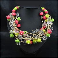 Free Shipping 2014 High Quality Jewlery Gold Plated Colored Weave Beads Charm Necklaces & Pendants Collar Jewelery Women N4657