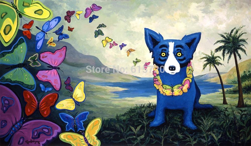 George Rodrigue Original blue dog oil painting (hawaiian blues) Giclee Art print repro on canvas wall decor(China (Mainland))
