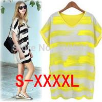 New! Hot! Nice! 2014 Summer hand painted women dress, all match strip women bottom dress Free shipping (Mix order 10% off)