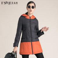 2014 Winter Thicken Warm Down Jacket Woman Coat Overcoat Splice Hooded Long Slim Fashion Parka Brand Luxury XL Free Black