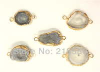 PS0326 10pcs Agate Drusy Agate Stone Connector Druzy Pendant with Gold Edge  20mm-30mm (RANDOM IN SHAPE)