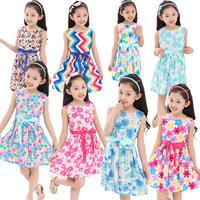 2014 new summer children's clothing baby girls sleeveless print flowers dress child cotton princess dresses