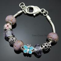 Enamel Butterfly CZ Stone Flower Charms Purple Crystal & Murano Beads 925 Silver Bracelet Pulseiras Jewelry + Gift Pouch PBS007