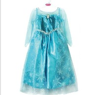 4pieces/lots Frozen girl dress  new children's dress Ice and snow country 2014 summer party Elsa 's dress for age 3-7