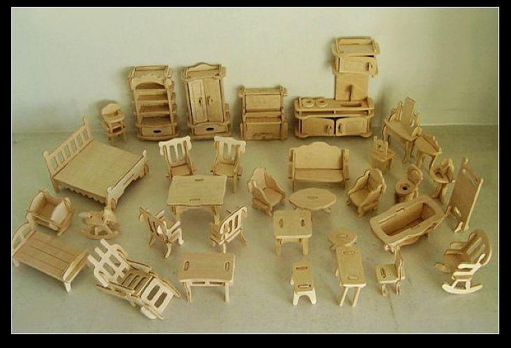 Free Shipping DIY Mini Furniture 34pcs/set ,Kids Educational Dollhouse Furniture Toy, 3d Woodcraft Puzzle Building Model Kit Toy(China (Mainland))