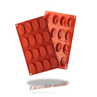 New silicone chocolate mold, cake mold series, high-quality silicone, 16-hole oval shape cake mold bakeware.