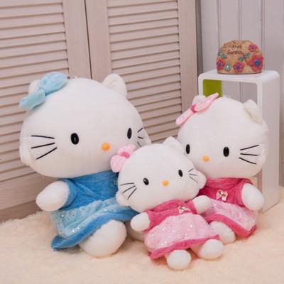 Cute Hello Kitty plush toys, dolls lovers KT cat, wearing a skirt Hello Kitty stuffed toys send girls birthday / Christmas gift(China (Mainland))