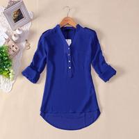 HSHN930 Temperament Casual Shirt Women Spring Summer 2014 Long Sleeve Chiffon V-neck Blouse Drop shipping