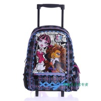 Top Quality MONSTER HIGH Trolley School Bags for Girls Mochilas Brand Kids Cartoon Backpack On Wheels Rolling Rucksack Satchel
