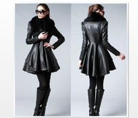 Free Shipping Winter New womens long paragraph Slim leather garments jackets coats