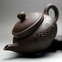 Yixing purple sand teapot Purple sand tea kungfu tea set Purple clay by hand Imitation bamboo ancient pot of 160 ml
