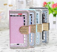 Rhinestone Leather Case For Samsung Galaxy S5 i9600 Pearl flip phone Cover Diamond Bling Leather Pouch 1Pcs Free Shipping