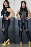 Brand New BBlack Mesh Cutout Leather Jumpsuit 9199 do dropship