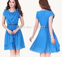 2014 new arriving Elegant plus size chiffon one-piece dress big size women dress XXXL XXXXL SHORT sleeves