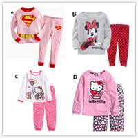 2014 New Cotton Baby Boy Girl Kids Sleepwear Suits Toddler Tartoon Long Sleeve Pajama Sets Children clothing cute cartoon prints