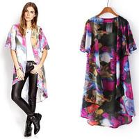 2014 Summer fashion fancy Casual medium-long low-high outerwear mantissas women's chiffon no button cardigan female  NJS170