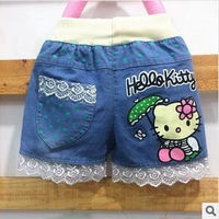 New fashion 2014 Wholesale 4pcs/lot  Girl children Cartoon Kitty denim shorts Kids summer casual lace beach jeans shorts C3301