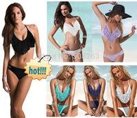 Hot Sale 2014 Sexy Tassel Women High Waisted Bikinis set Bikini Push Up Beach Swimwear Swimsuit Trikini bathing Suit BK60