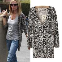New Arrival Fashion Sexy Women Cardigan Sweater Thin Leopard Long Sleeve Cardigan Tops Shirt 1PCS/lot Free Shipping