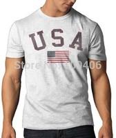 2014 USA Vintage Country T-Shirt, White Wash  New Fashion Men's T Shirts Design shirts Printed Cotton shirts Free shipping