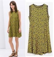 2014 Summer street fashion print back sleeveless button decoration leopard print chiffon one-piece dress women's female NJS173